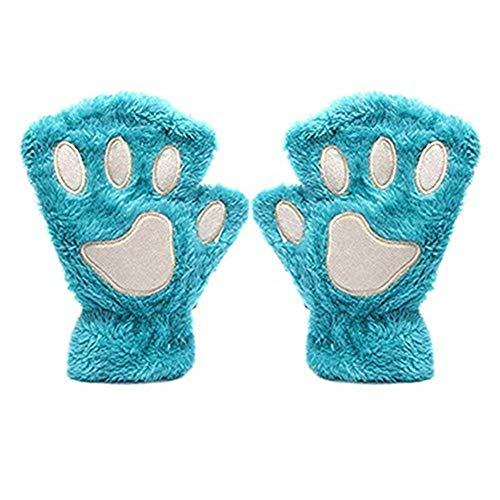 Cute Cat Bear Paw Fingerless Faux Fur Plush Gloves for - Gloves Cat Paw