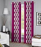 Exporthub Pink Color Fancy Designer 2 Piece Eyelet Long Door Curtains- 4 x 9 Feet, (EHSPR553_94)