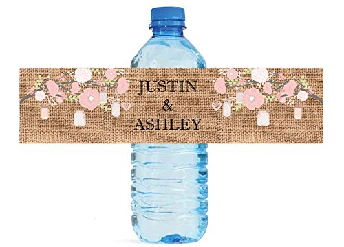 100 Burlap and Pink Flowers and Mason Jars Wedding Anniversary Engagement Party Water Bottle labels Bridal Shower