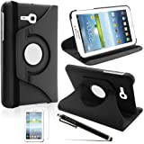 LK Luxury 360 Rotating Pu Leather Case Cover for Samsung Galaxy Tab 3 Lite 7.0 T110 / T111 & Free Screen Protector + Stylus Pen (Black)