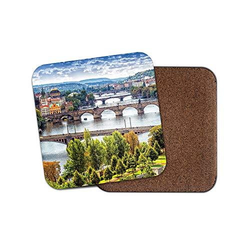 City Scene Vinyl - Vltava River Prague Coaster - Czech Republic City Travel Scene Boats Gift #15366