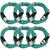 SEISMIC AUDIO - SAXLX-10 - 6 Pack of 10' Green XLR Male to XLR Female Patch Cables - Balanced - 10 Foot Patch Cords