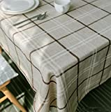 WFLJL Tablecloth Japanese Style Cotton And Linen Rectangle Thickening Coffee Table Dining Table Beige Lattice 130240cm