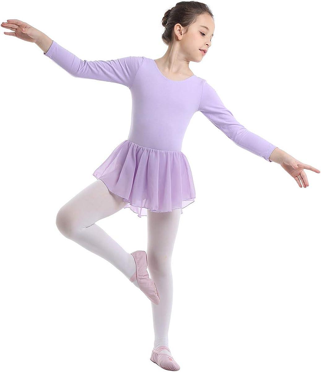 ranrann Vestido de Danza Ballet Manga Larga para Niña Maillot de ...