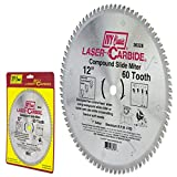 IVY Classic 36328 Laser Carbide 12-Inch 60 Tooth Compound Slide Miter Circular Saw Blade with 1-Inch Arbor, 1/Card