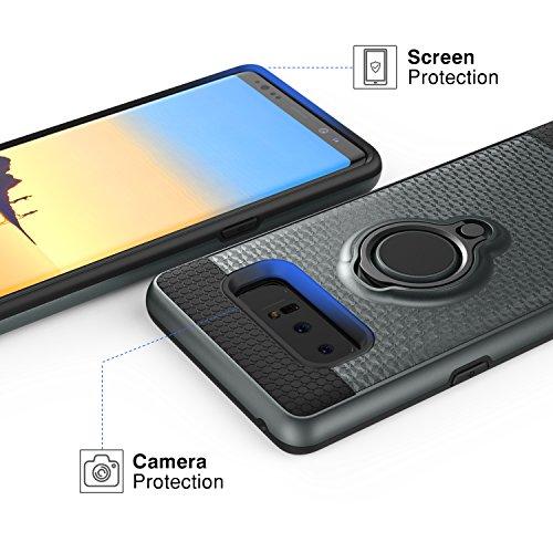MoKo Funda de Samsung Galaxy Note 8, MoKo Sujetador de clip de anillo Funda TPU Amortiguador antichoque de absorción de choque para Samsung Galaxy Note 8 - Negro añil