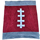 Cozy Wozy Football Themed Minky Baby Blanket, Crimson Red/Gray, 30'' x 36''