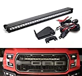 iJDMTOY Behind Grille Mount 30-Inch LED Light Bar Kit For 2017-up Ford F-150 Raptor, Includes (1) 150W High Power CREE LED Lightbar, Mesh Grill Mounting Brackets & On/Off Switch Wiring Kit