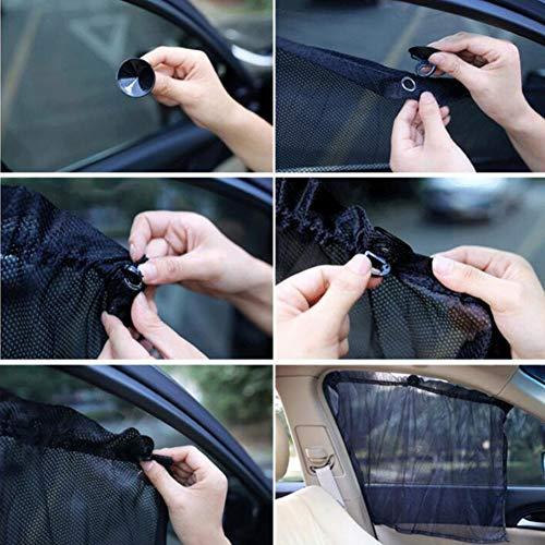 Toruiwa tenda parasole per auto finestrino auto tendine parasole laterali in rete con 6ventose per auto universale 2PCS/nero