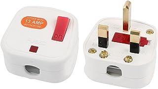 sourcingmap® AC 250V SPINA UK con fusibile di uscita di potenza per ricablare adattatore cavo bianco connettore