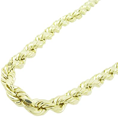 1c1bfb97d5939 IcedTime Mens 10k Yellow Gold Hollow Rope Chain ELNC20 24