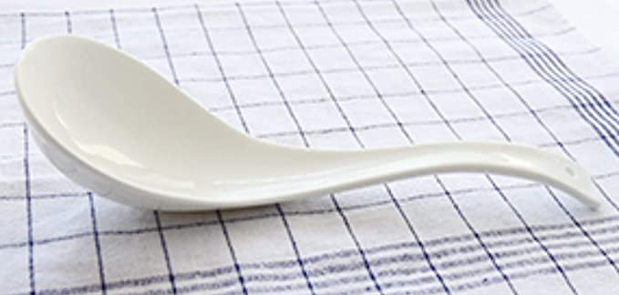 White Bone China Porcelain Ceramics LeBlue 1-Pack Asian Chinese Reusable Dishwasher Microwave Safe 10.4 The Big Phoenix Serving Soup Spoons Ladle
