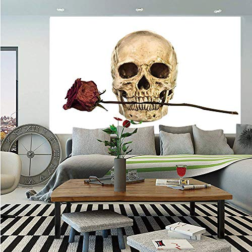 Gothic Decor Huge Photo Wall Mural,Skull with Dry Red Rose in Teeth Anatomy Death Eye Socket Jawbone Halloween Art Decorative,Self-Adhesive Large Wallpaper for Home Decor 100x144 inches,