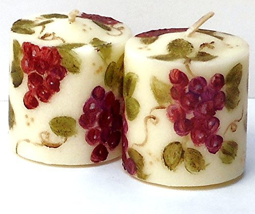 Decorated Ivory Votive Candles Set with Hand Painted Grape Clusters and Vines
