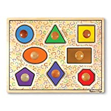 Melissa & Doug Geometric Shapes Lg Wooden Peg Puzzle (8 pcs)