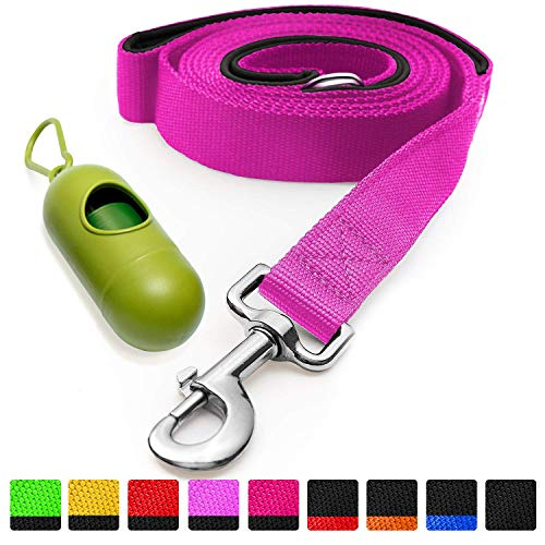 [Strong] Dog Leash with Bonus Free Waste Bag Dispenser – Thick Padded Dual Handles, Includes Poop Bags & 100% Nylon (6ft. Long) – Comfortable Grip – Ideal for Large, Medium and Small Dogs (Rose