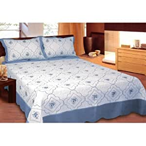 Embroidery Light Blue 3pc Bed Quilt Set w/ Pillow Shams King Size