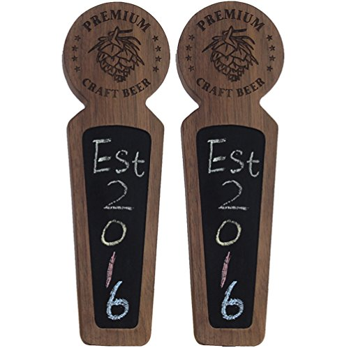 "Fanfoobi Set of 2 Wooden keg tap handle chalkboard, Laser engraved Premium Craft Beer with Pine nuts logo, Double tap handle for kegerator, 8.3"" Length Round Tap …"
