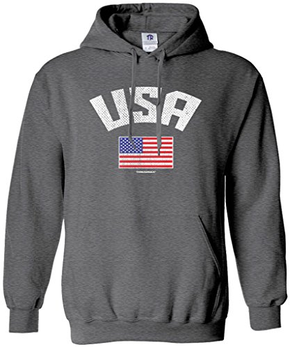 Threadrock Women's USA American Flag Hoodie Sweatshirt S Dark Heather