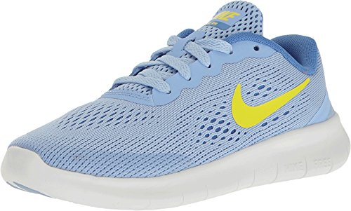 Price comparison product image Nike Kids Free RN Little Kid Aluminum / Electrolime / Medium Blue Girls Shoes