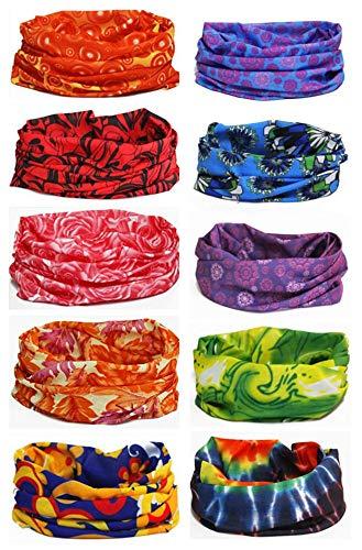 Ussupertar Outdoor Multi-use Seamless Headband Tube Bandana Headwrap Headscarves Fashion Magic Scarf 10 Pack (Style 10) ()