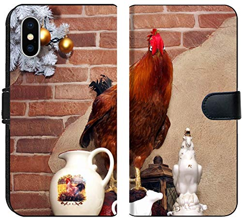 Apple iPhone X Flip Fabric Wallet Case Image 17855648 Ceramic Tableware and Scarecrow Poultry Against a Wall -