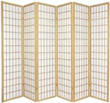 Legacy Decor 6-Panel Japanese Oriental Style Room Screen Divider Natural Color
