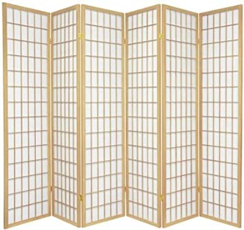 Legacy Decor 6 Panel Japanese Oriental Style Room Screen Divider Natural Color