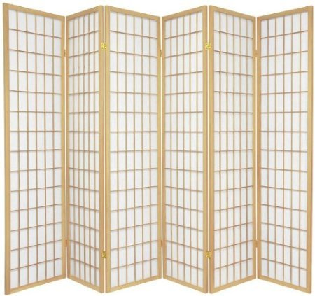 Legacy Decor 6-Panel Japanese Oriental Style Room Screen Divider Natural Color (6 Panel Shoji)