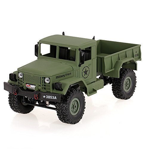 Goolsky HENG LONG 3853A 1/16 2.4G 4WD Off-Road RC Military Truck Rock Crawler Army Car (Green)