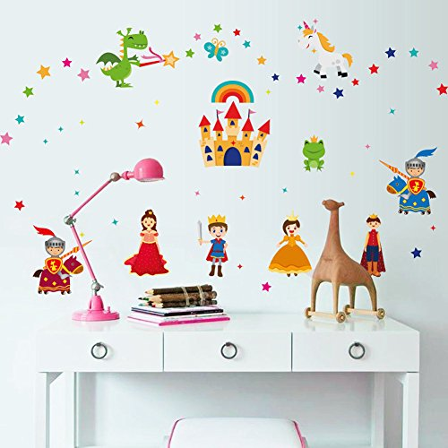 Wallpark Cartoon Fairy Tale Castle Princess Prince Removable Wall Sticker Decal, Children Kids Baby Home Room Nursery DIY Decorative Adhesive Art Wall -