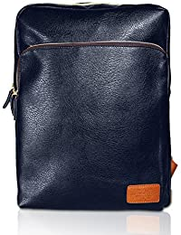 Rock.holick Casual Daypack Backpack (PU Leather - Navy)