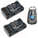 amsahr ValuePack (2 Count): Digital Replacement Camera and Camcorder Battery for JVC BN-VF808, BN-VF808U, BN-VF815, BN-VF815U, GR: D720, D720EX, D721, D721EX, D726EX - Includes Lens Accessories Pouch