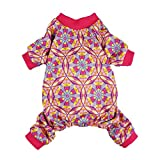 #8: Fitwarm Abstract Floral Dog Pajamas Jumpsuit Cat Clothes Pet Apparel PJS Pink Medium