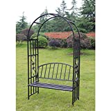 Kinbor Outdoor Metal Garden with Seat Bench 6'9'' H x 3'9'' W Arch Garden Arbour for Climbing Plant Outdoor Garden Lawn Backyard(6'9'' H x 3'9'' W Style C)