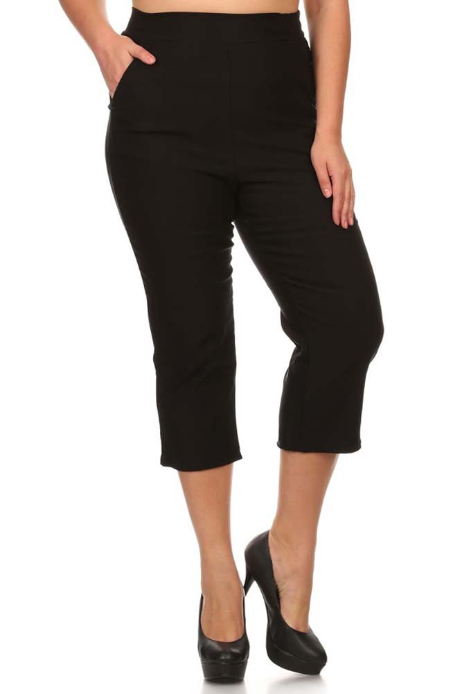 Private Label Women's Stretch Millennium Slim Style Crop Pants Plus. Made In USA (X-Large, Black)