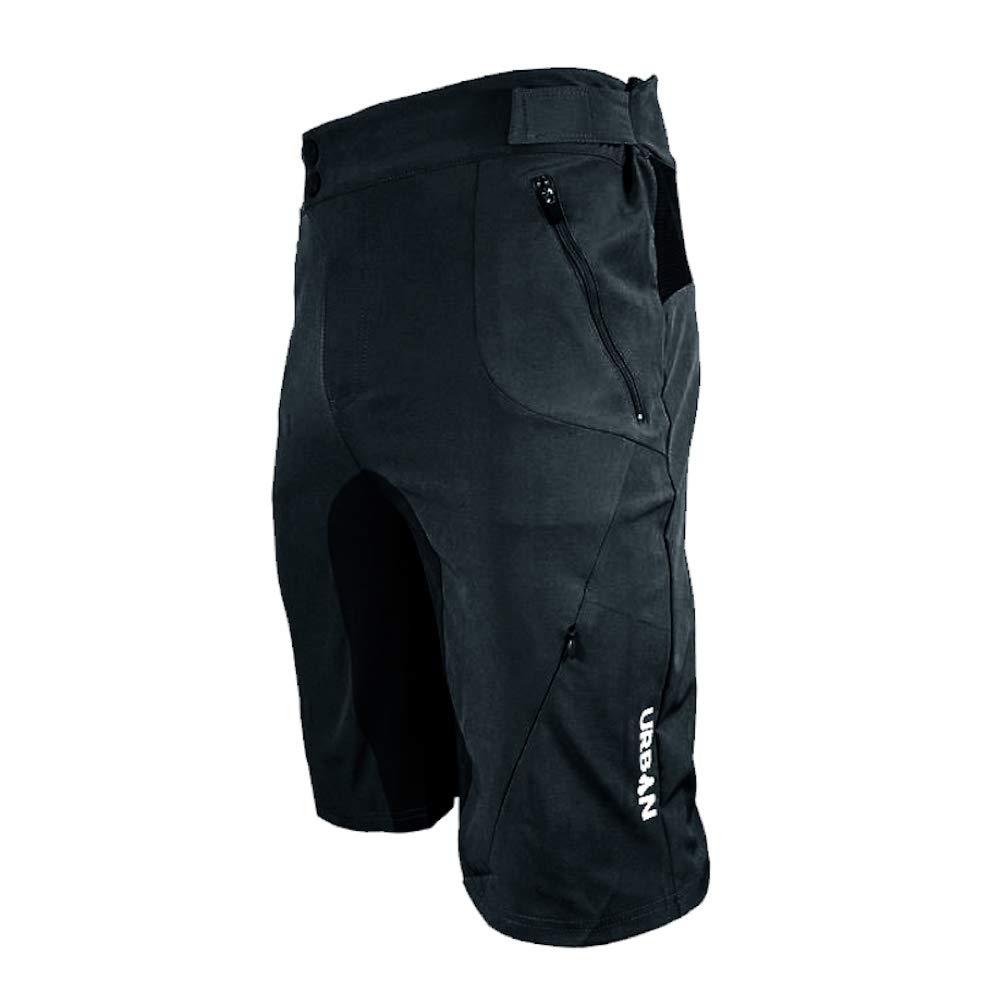Urban Cycling Apparel Flex MTB Trail Shorts - Soft Shell Mountain Bike Shorts with Zip Pockets and Vents (Medium (32''-34''), Black, No Liner)