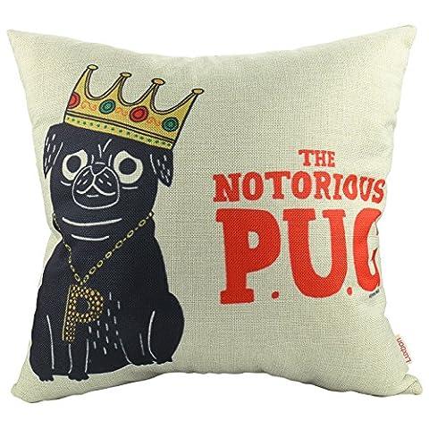 Luxbon - The Notorious King Pug Dog Cotton Linen Throw Pillow Case Cushion Cover 18 x 18