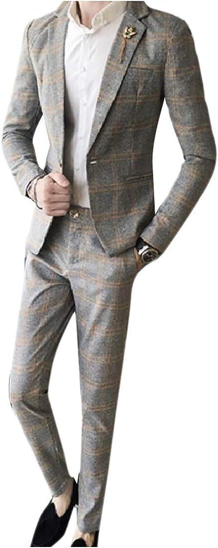Unastar Men Button Plaid 2 Piece Blazer Skinny Business Jacket Trousers