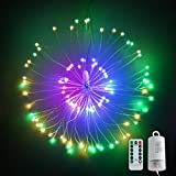 LED String Light,Battery Operated Hanging Starburst Light 120 LED Bouquet Shape Lights,Fairy Twinkle Lights 8 Modes Dimmable with Remote Control for Outdoor Home Patio Party(Muli Color)