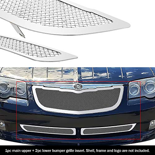 APS Compatible with 2004-2008 Crossfire Stainless Steel Chrome Mesh Grille Insert Combo R77808T