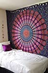 Marubhumi Indian Mandala Tapestry, Indian Hippie Hippy Wall Hanging, Bohemian Queen Wall Hanging, Bedspread Beach Tapestry (85 x 55 inch, Purple)