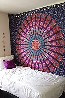 Marubhumi Indian Traditional Hippie Cotton Tapestry, Rainbow Boho Hippie Beach Coverlet Curtain, Wall Hanging,Bohemian Wall Hanging, 92 x 82 Inches (Rainbow)