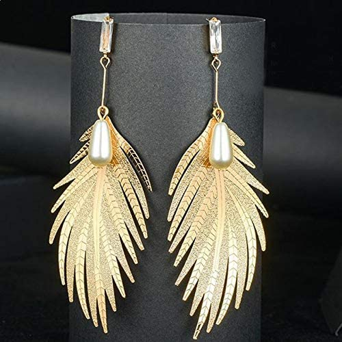 Gold-colored Chain and Posts Dangle Feather Poof Earrings