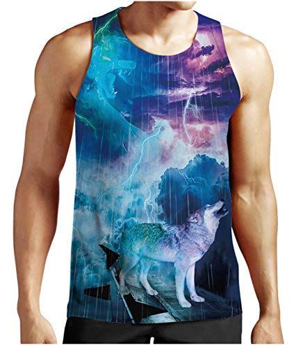 Mens Wolf Graphic Tank Tops 3D Printed Sleeveless Crewneck Quick Dry Workout Gym Tees Outfit S