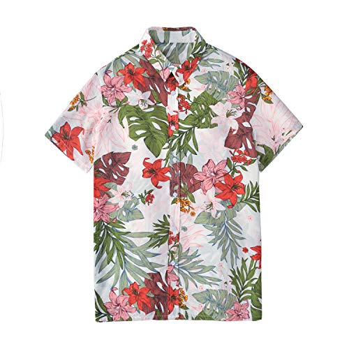 Hawaiian Shirt for Men Ugly Aloha Shirts Casual Slim Fit Short Sleeve Lightweight Soft Morning Glory Pattern Button Down Summer Beach Party Golf Traveling Fishing Camping Hiking Work School ()