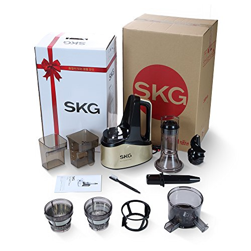 SKG Slow Masticating Juicer Extractor with Wide Chute (240W AC Motor, 43 RPMs, 3'' Big Mouth) Anti-Oxidation Lower Noisy - Vertical Masticating Cold Press Juicer-Champagne by SKG (Image #8)