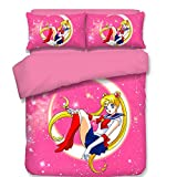 Pink Sailor Moon Japanese Anime Bedding Set, for Girls Soft Hypoallergenic, 1 Duvet Cover + 2 Pillowcases Twin