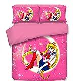 Pink Sailor Moon Japanese Anime Bedding Set, for Girls Soft Hypoallergenic, 1 Duvet Cover + 2 Pillowcases Full