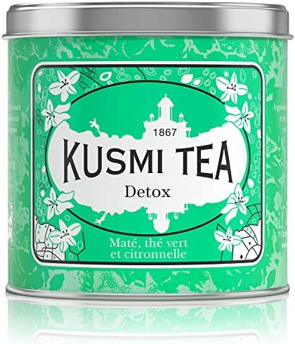 Kusmi Tea - Detox - Natural Green Tea with Lemongrass, Scent of Lemon and Blend of Yerba Mate - 8.8oz of All Natural Premium Loose Leaf Green Detox Tea in Eco-Friendly Metal Tin (100 Servings)